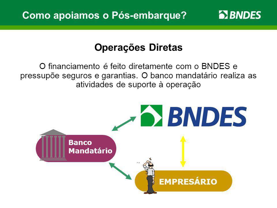 Como apoiamos o Pós-embarque? Operações Diretas O financiamento é feito diretamente com o BNDES e pressupõe seguros e garantias. O banco mandatário re