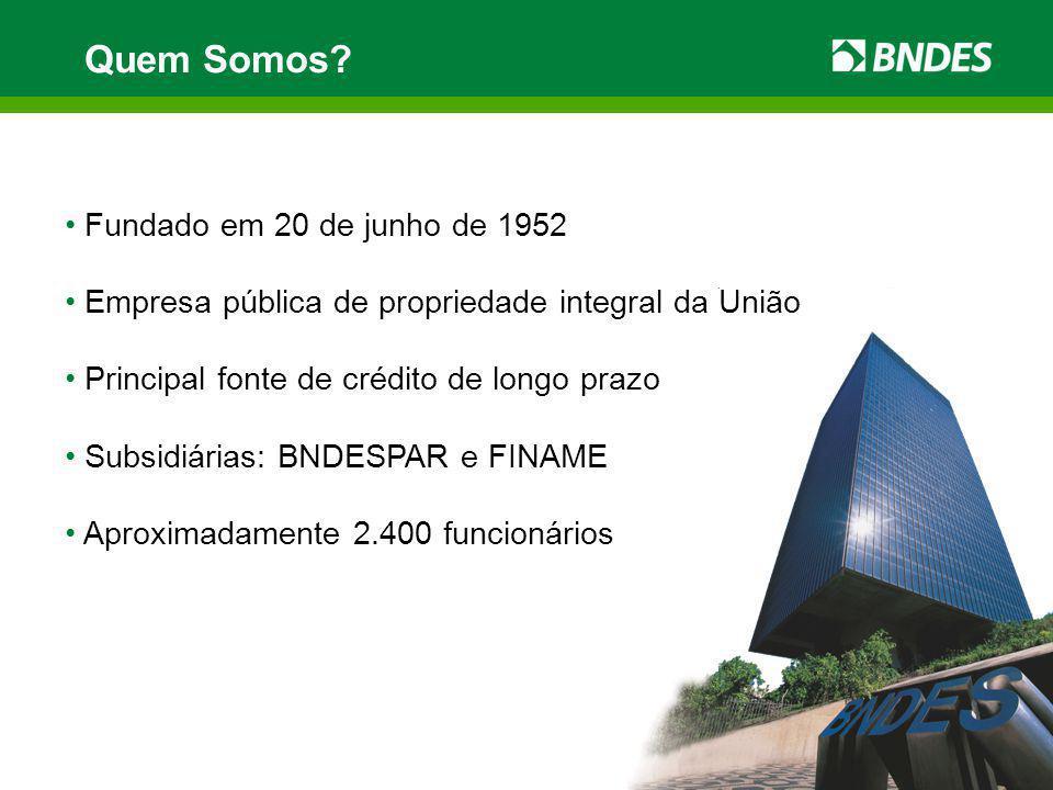 Quem Somos? Fundado em 20 de junho de 1952 Empresa pública de propriedade integral da União Principal fonte de crédito de longo prazo Subsidiárias: BN