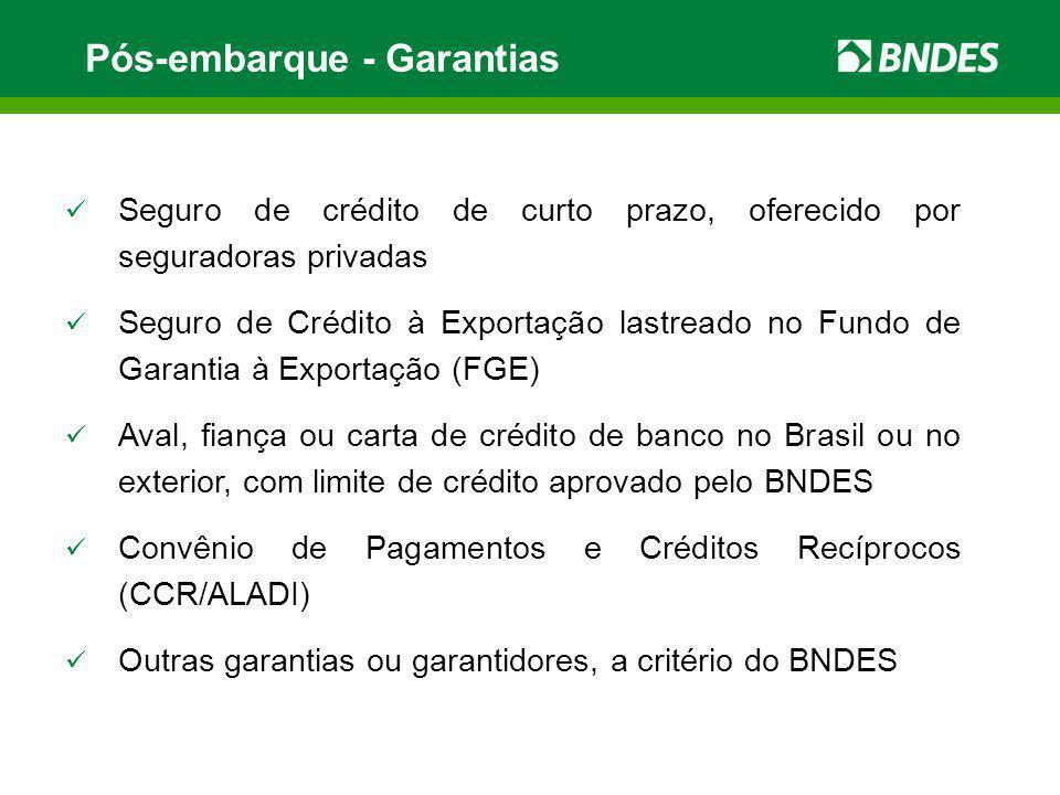 Pós-embarque - Garantias Seguro de crédito de curto prazo, oferecido por seguradoras privadas Seguro de Crédito à Exportação lastreado no Fundo de Gar