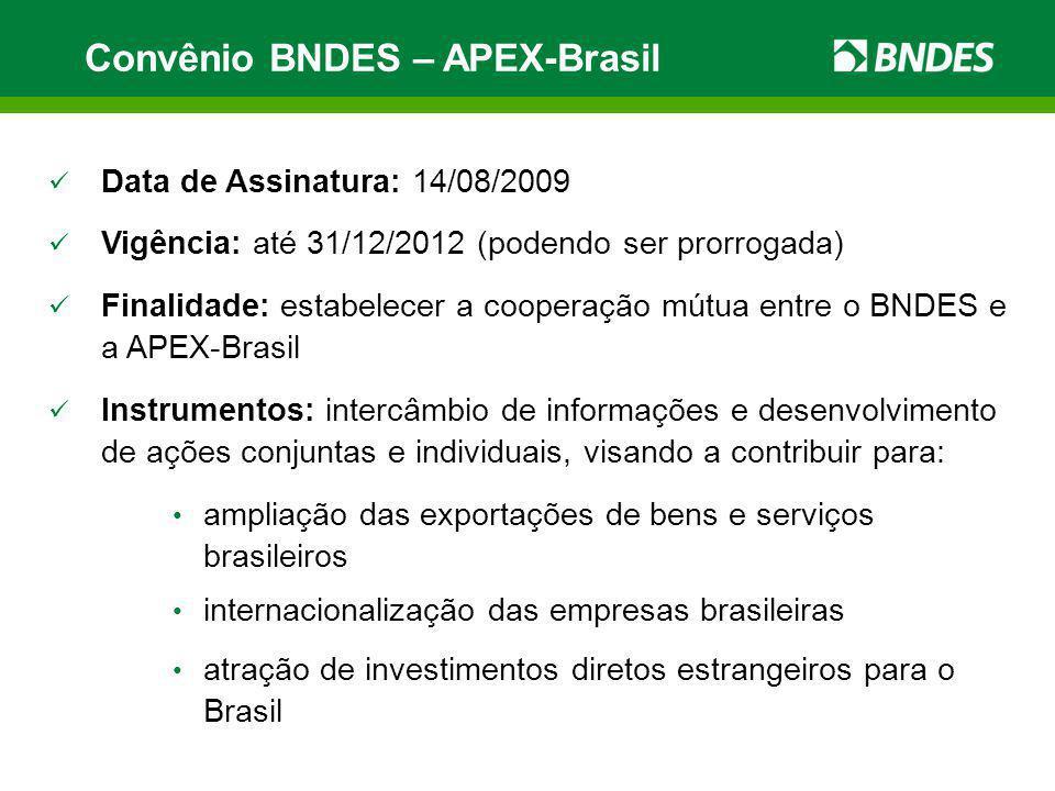 Convênio BNDES – APEX-Brasil Data de Assinatura: 14/08/2009 Vigência: até 31/12/2012 (podendo ser prorrogada) Finalidade: estabelecer a cooperação mút