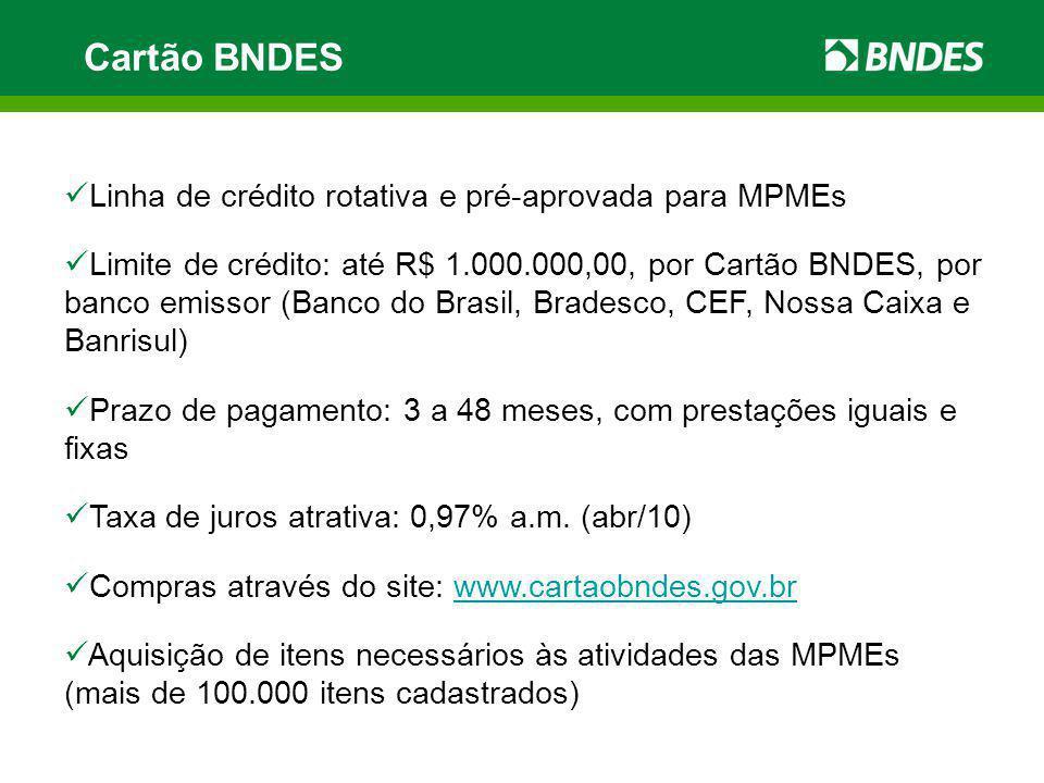 Cartão BNDES Linha de crédito rotativa e pré-aprovada para MPMEs Limite de crédito: até R$ 1.000.000,00, por Cartão BNDES, por banco emissor (Banco do