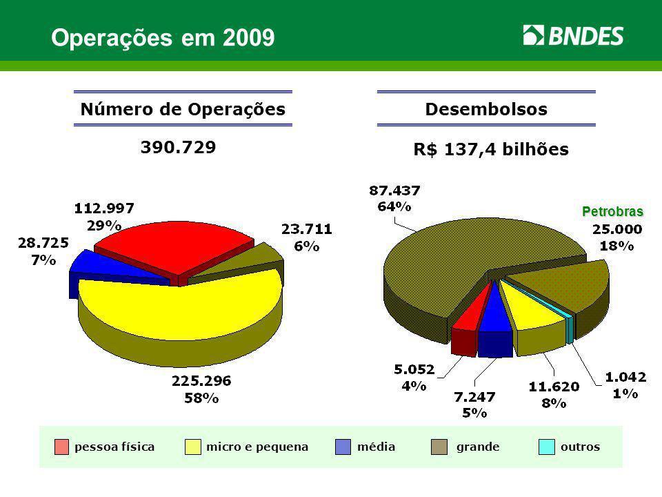 Operações em 2009 R$ 137,4 bilhões Número de Operações 390.729 Desembolsos micro e pequenamédia pessoa física grandeoutros Petrobras