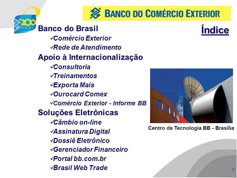 2 2 Mercado de câmbio de exportação 31,3% de market share US$ 23,2 bilhões Mercado de câmbio de importação 24,5% de market share US$ 14,3 bilhões Pioneiro em operações de câmbio na internet US$ 1,9 bilhão comércio exterior Posição: 1S 2009 Banco do Brasil