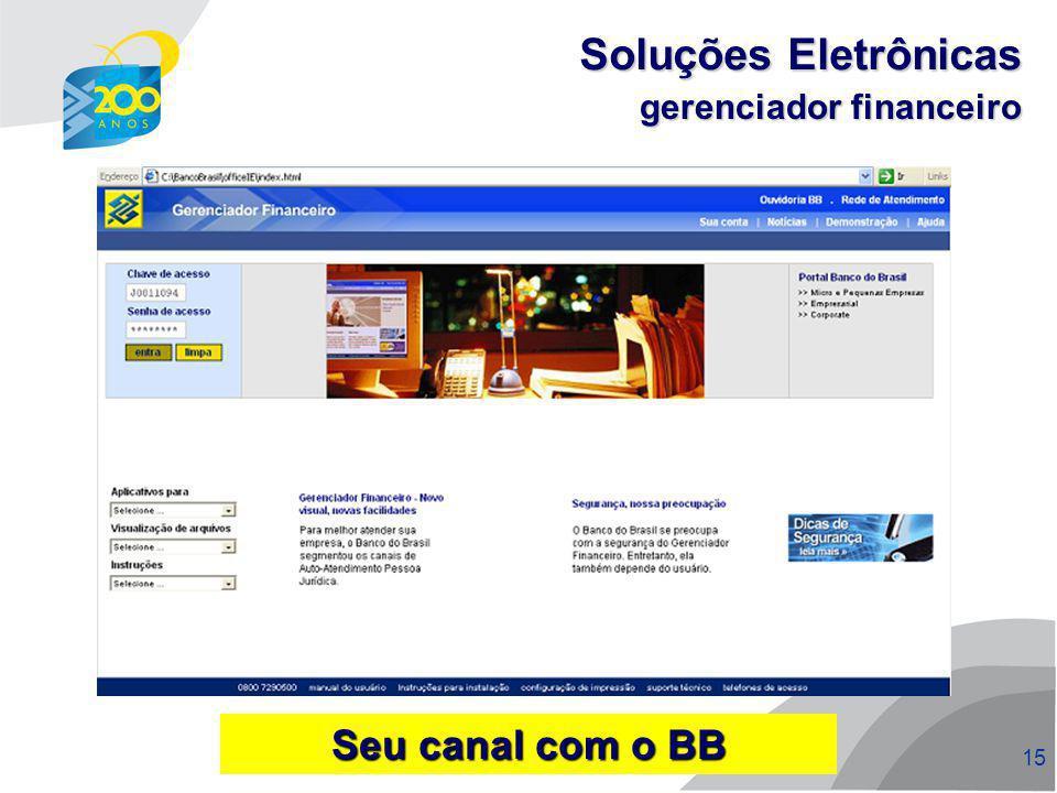 16 gerenciador financeiro Soluções Eletrônicas menu internacional