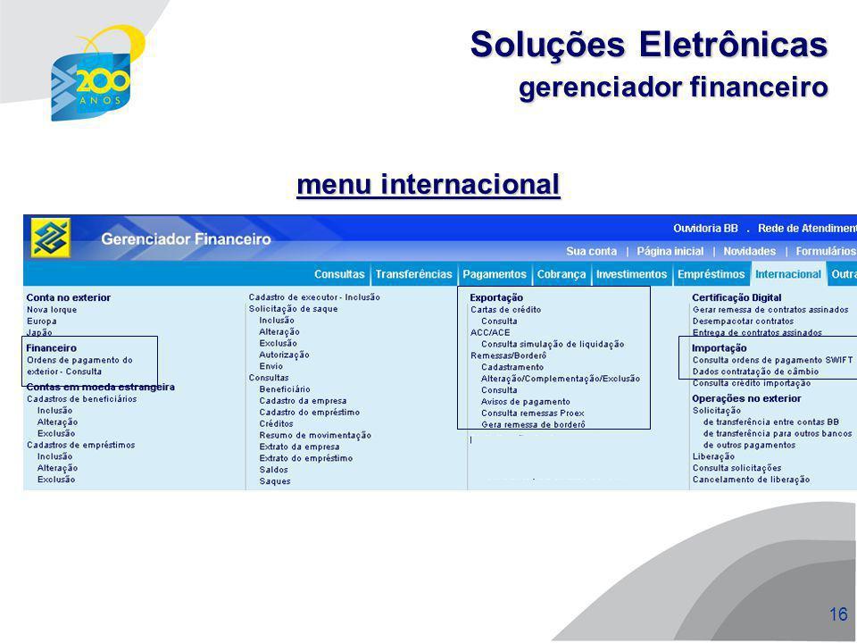 17 Funcionalidades bb.com.br Soluções Eletrônicas