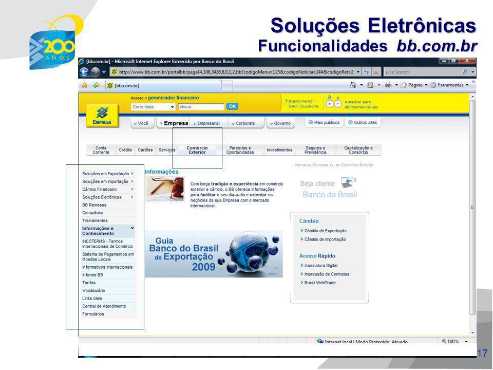 18 Funcionalidades bb.com.br Soluções Eletrônicas