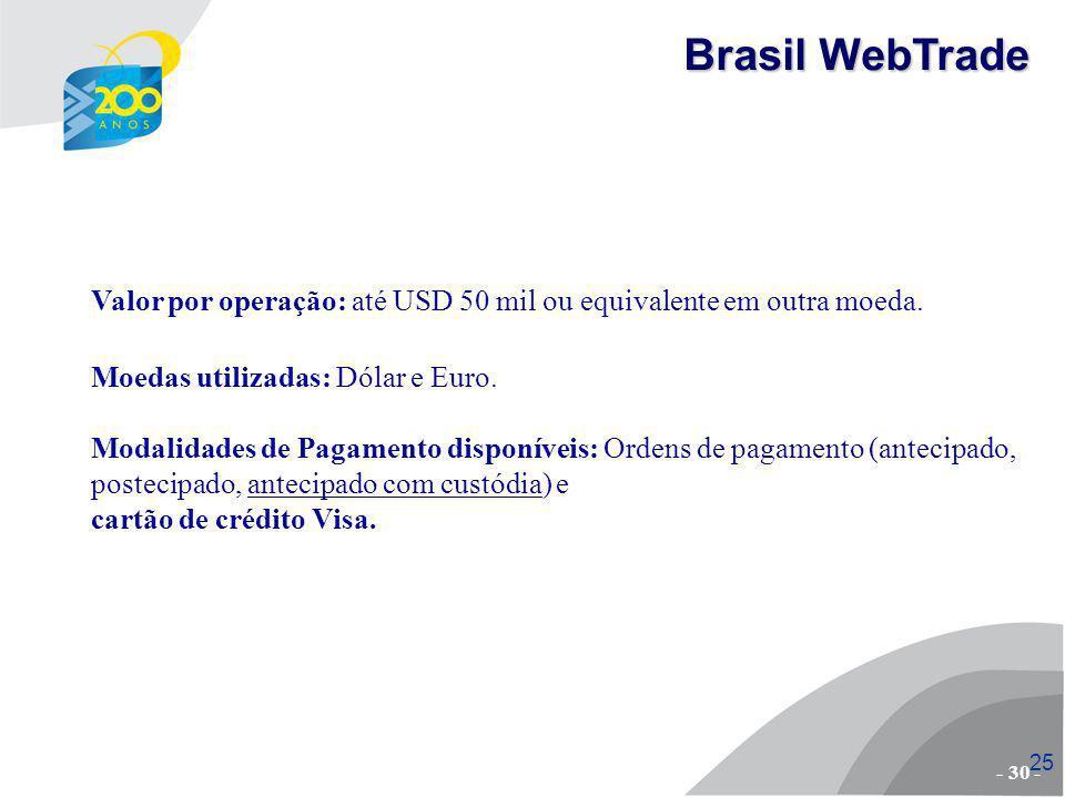 26 Empresas pré-qualificadas; Adesão e manutenção sem custo; Ambiente de negócios catálogo eletrônico negociação logística integrada: envio de amostras e produto final pagamentos/recebimentos gerenciamento dos negócios;.: Vantagens em relação a outras ferramentas - 31 - Brasil WebTrade