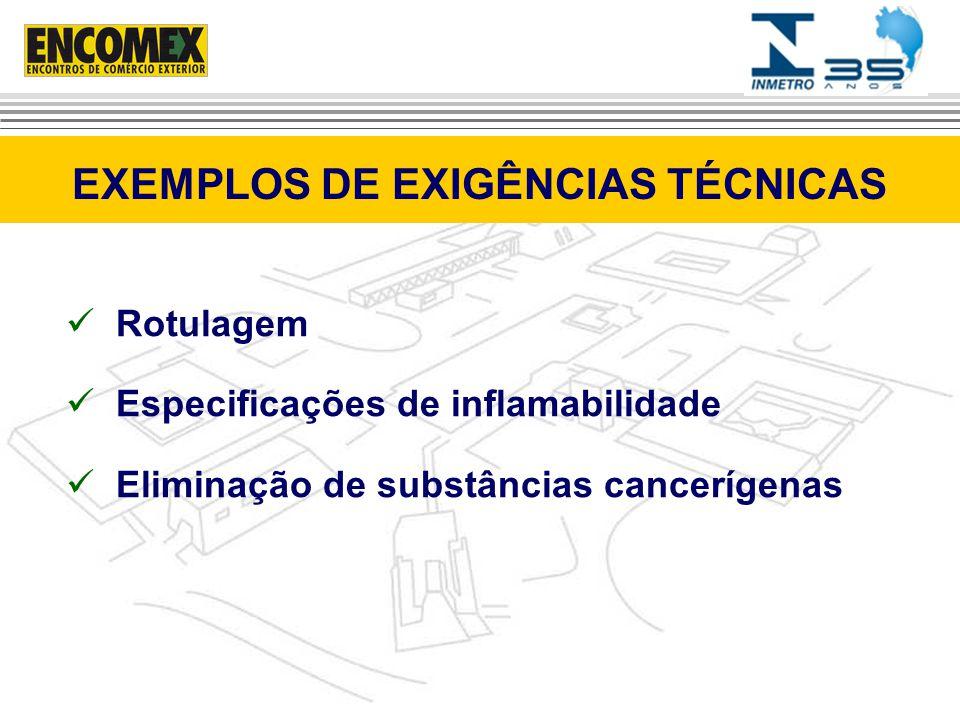 Rotulagem Especificações de inflamabilidade Eliminação de substâncias cancerígenas EXEMPLOS DE EXIGÊNCIAS TÉCNICAS