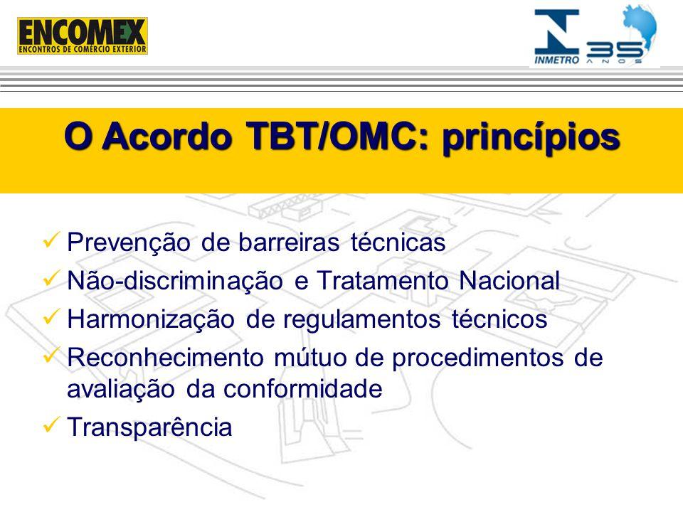 Prevenção de barreiras técnicas Não-discriminação e Tratamento Nacional Harmonização de regulamentos técnicos Reconhecimento mútuo de procedimentos de