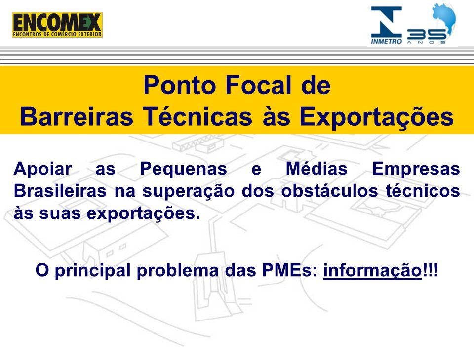 Serviços do Inmetro que apóiam a superação das barreiras técnicas às exportações Oferece serviços na Internet para o exportador brasileiro: Alerta Exportador.