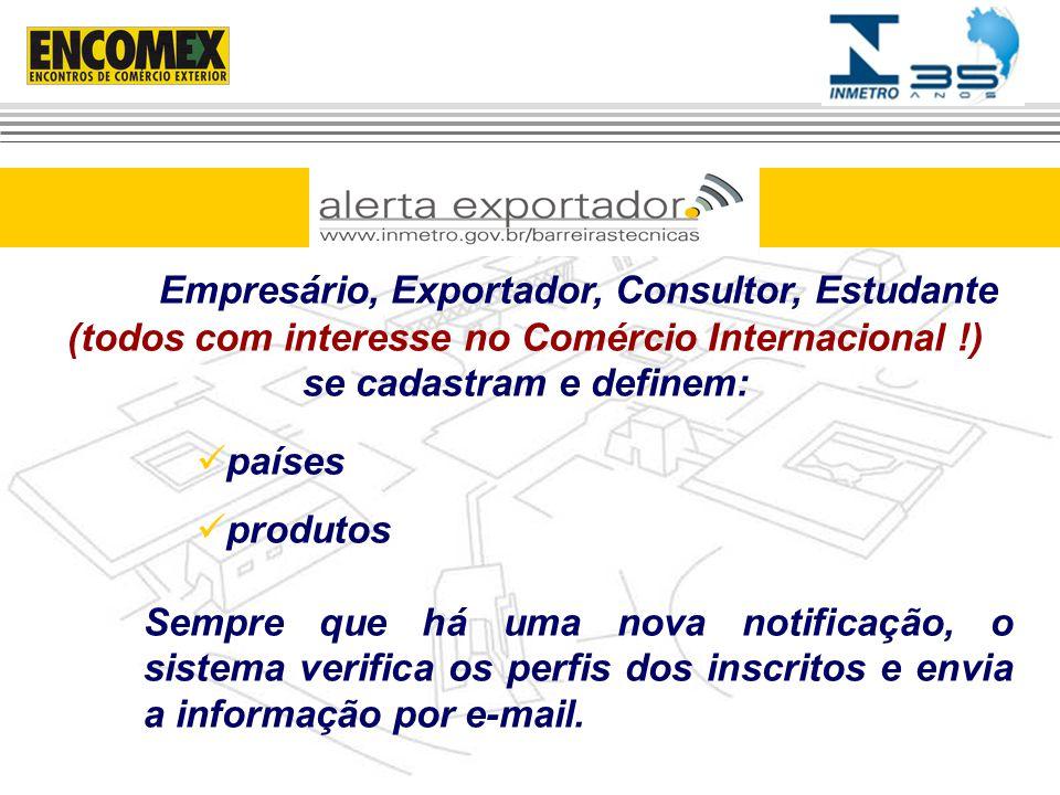 Empresário, Exportador, Consultor, Estudante (todos com interesse no Comércio Internacional !) se cadastram e definem: países produtos Sempre que há u