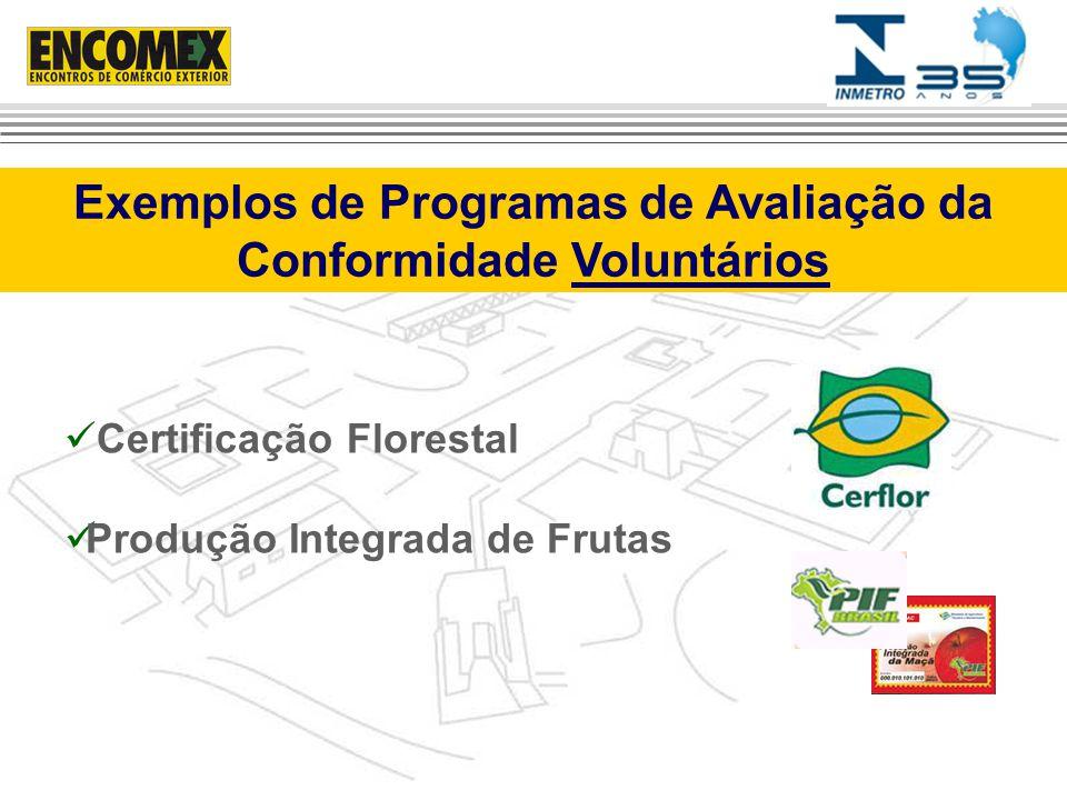 Certificação Florestal Produção Integrada de Frutas Exemplos de Programas de Avaliação da Conformidade Voluntários