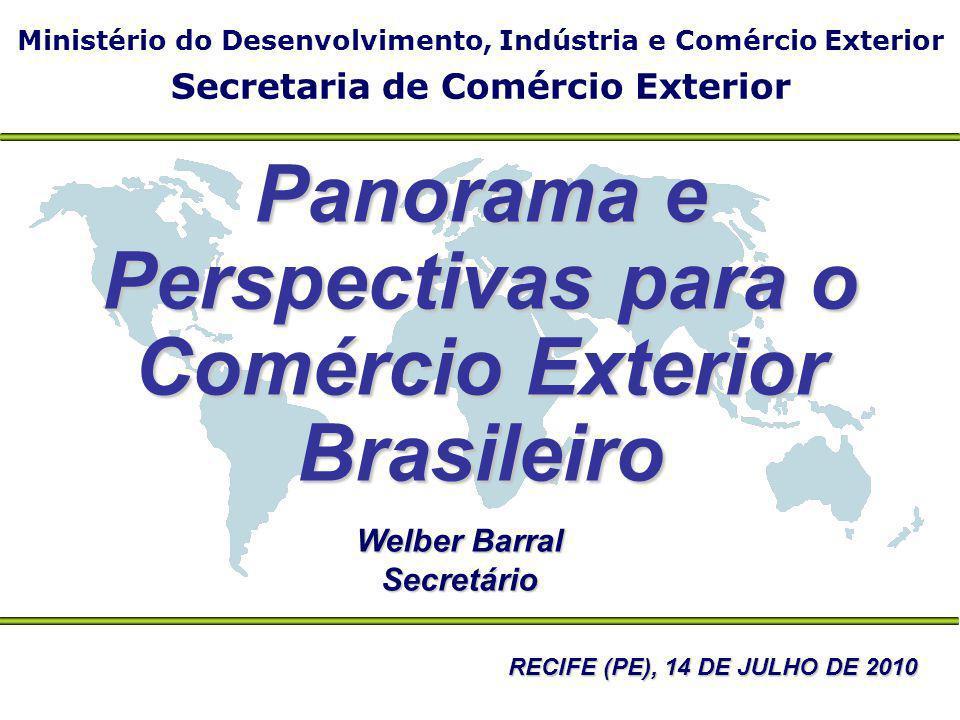 Ministério do Desenvolvimento, Indústria e Comércio Exterior Secretaria de Comércio Exterior Welber Barral Secretário Panorama e Perspectivas para o C
