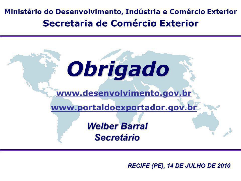 Ministério do Desenvolvimento, Indústria e Comércio Exterior Secretaria de Comércio Exterior Obrigado Welber Barral Secretário www.desenvolvimento.gov