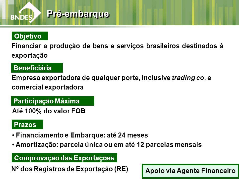 Financiar a produção de bens e serviços brasileiros destinados à exportação Beneficiária Empresa exportadora de qualquer porte, inclusive trading co.