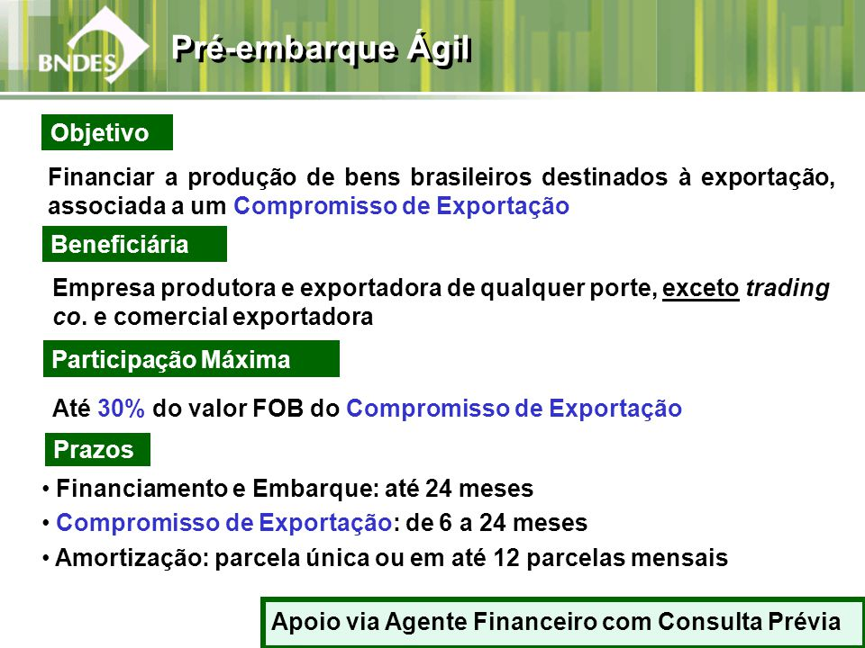 Financiar a produção de bens brasileiros destinados à exportação, associada a um Compromisso de Exportação Beneficiária Empresa produtora e exportadora de qualquer porte, exceto trading co.