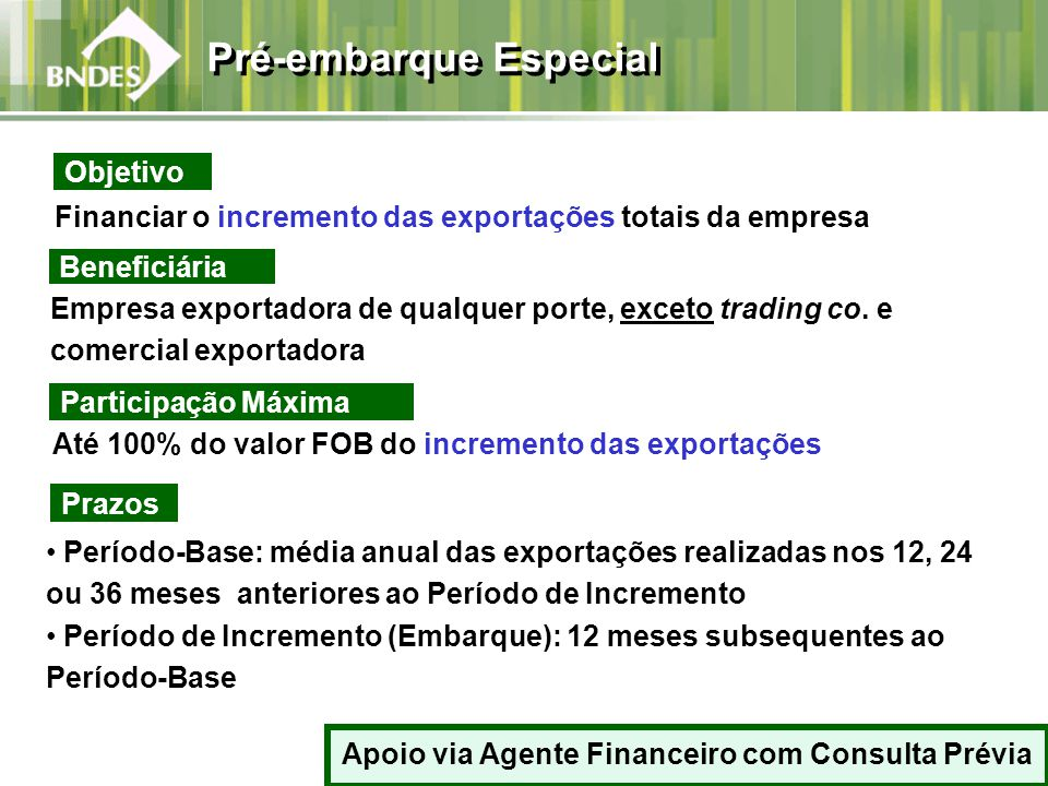 Financiar o incremento das exportações totais da empresa Beneficiária Empresa exportadora de qualquer porte, exceto trading co. e comercial exportador