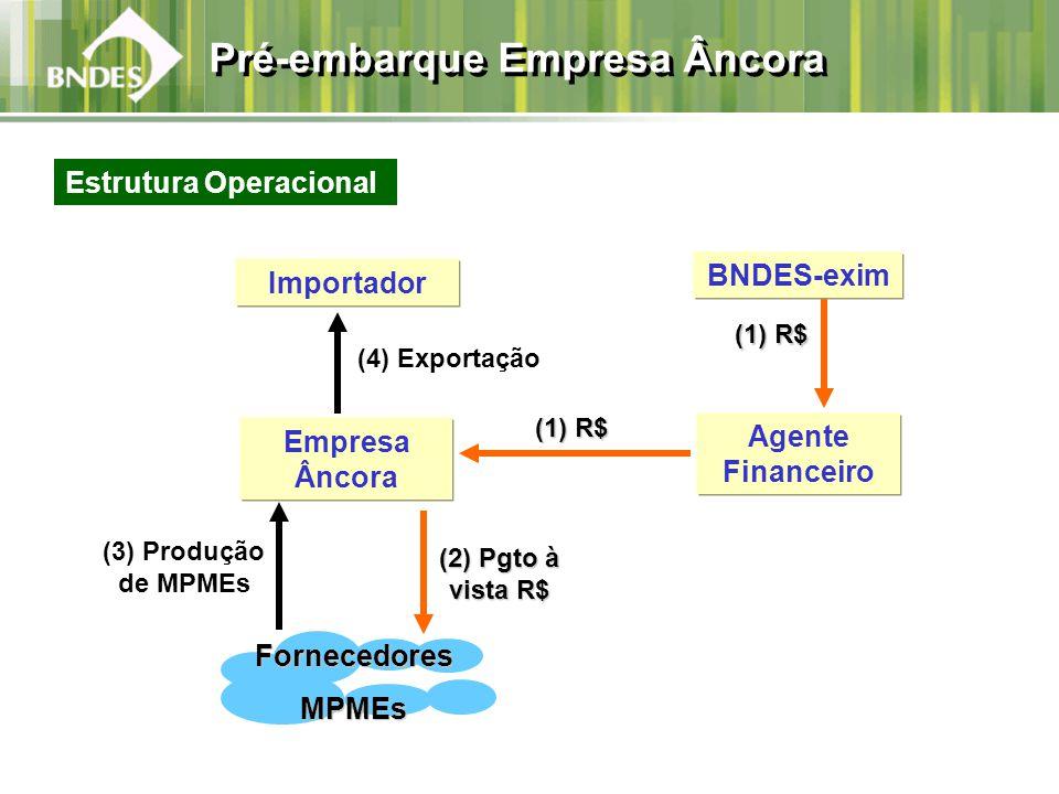 Agente Financeiro (4) Exportação (3) Produção de MPMEs Empresa Âncora (1) R$ (1) R$ BNDES-exim FornecedoresMPMEs (2) Pgto à vista R$ Importador (1) R$ (1) R$ Estrutura Operacional Pré-embarque Empresa Âncora