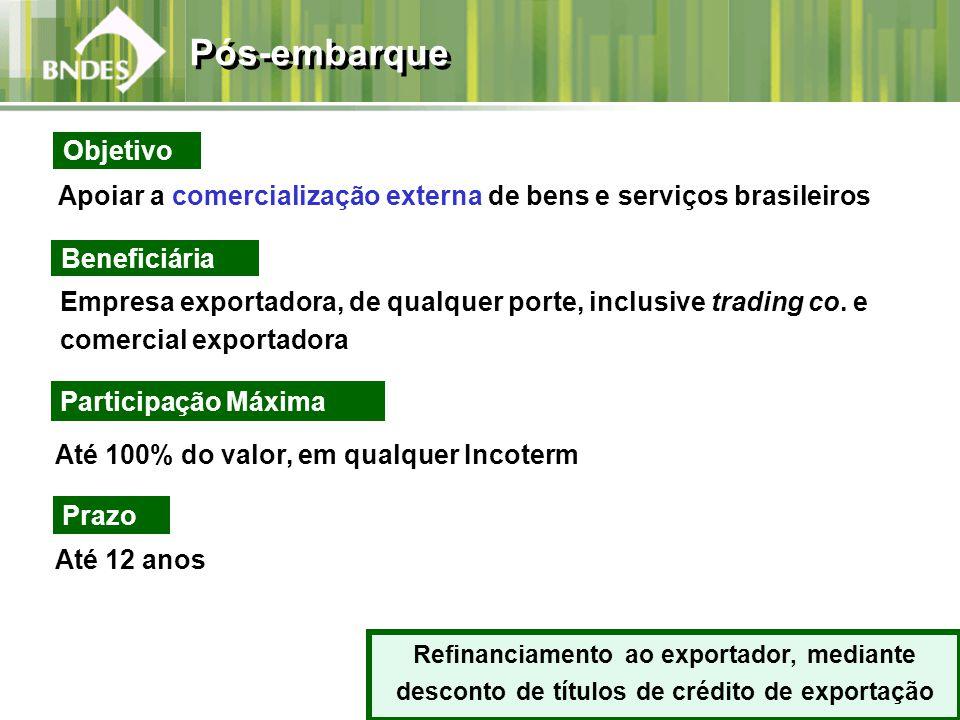 Apoiar a comercialização externa de bens e serviços brasileiros Beneficiária Empresa exportadora, de qualquer porte, inclusive trading co. e comercial