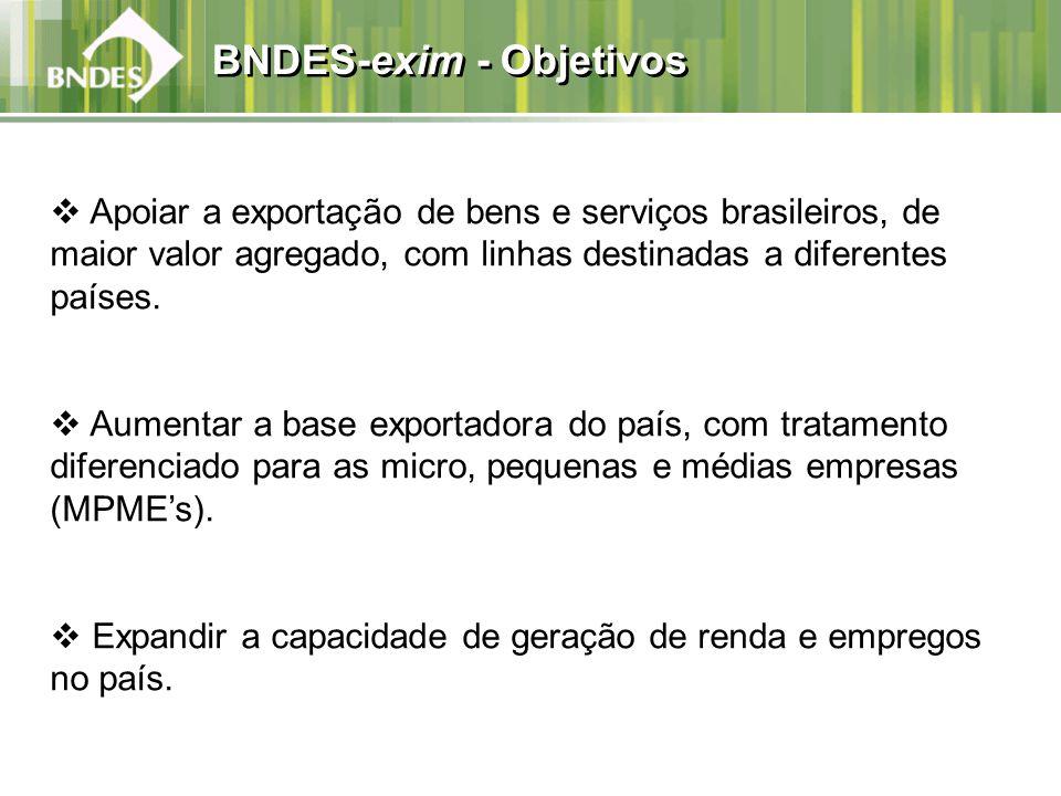 BNDES-exim - Objetivos Apoiar a exportação de bens e serviços brasileiros, de maior valor agregado, com linhas destinadas a diferentes países. Aumenta