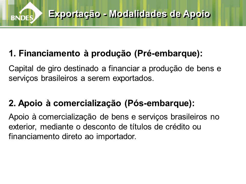1. Financiamento à produção (Pré-embarque): Capital de giro destinado a financiar a produção de bens e serviços brasileiros a serem exportados. 2. Apo