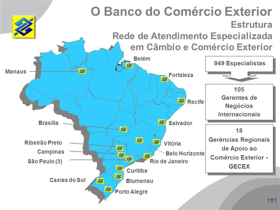 11 Manaus Brasília Belém Fortaleza Recife Salvador Vitória Belo Horizonte Rio de Janeiro São Paulo (3) Campinas Ribeirão Preto Curitiba Blumenau Porto