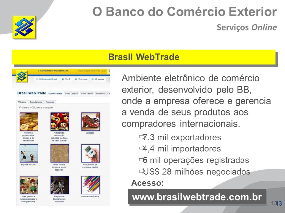 13 Ambiente eletrônico de comércio exterior, desenvolvido pelo BB, onde a empresa oferece e gerencia a venda de seus produtos aos compradores internac