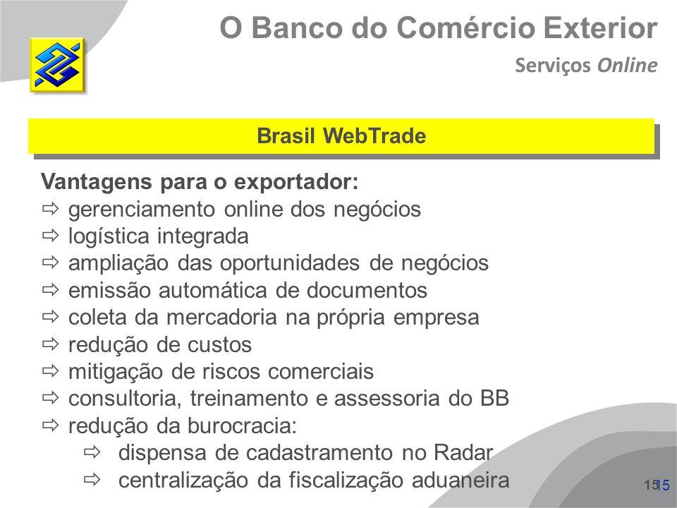 15 Vantagens para o exportador: gerenciamento online dos negócios logística integrada ampliação das oportunidades de negócios emissão automática de do