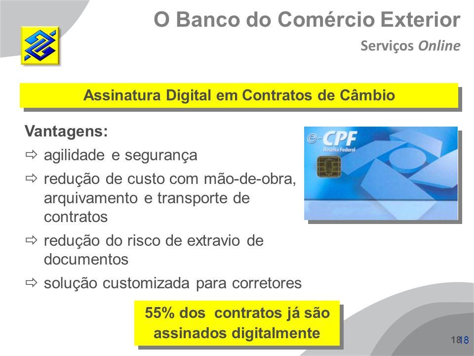 18 O Banco do Comércio Exterior Assinatura Digital em Contratos de Câmbio Vantagens: agilidade e segurança redução de custo com mão-de-obra, arquivame