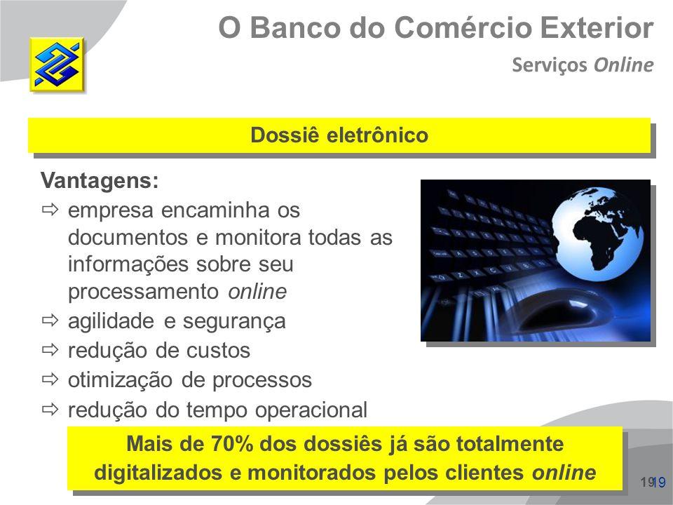 19 Dossiê eletrônico Vantagens: empresa encaminha os documentos e monitora todas as informações sobre seu processamento online agilidade e segurança r