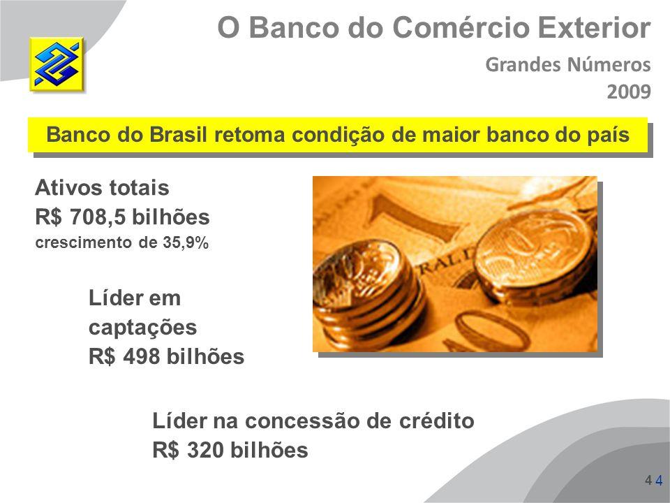 4 4 4 O Banco do Comércio Exterior Grandes Números 2009 Banco do Brasil retoma condição de maior banco do país Ativos totais R$ 708,5 bilhões crescime