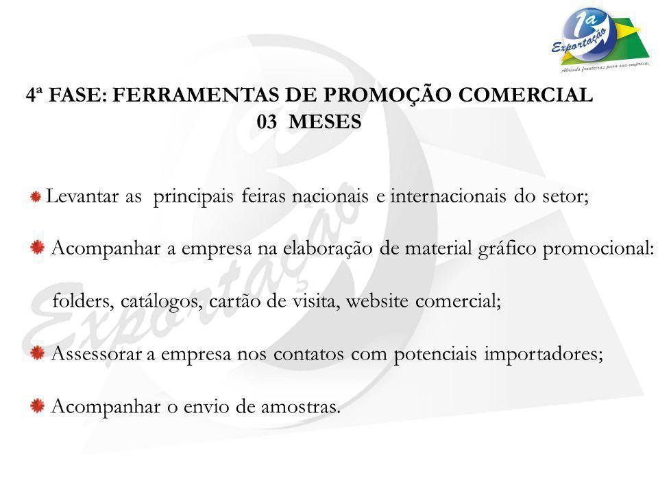 4ª FASE: FERRAMENTAS DE PROMOÇÃO COMERCIAL 03 MESES Levantar as principais feiras nacionais e internacionais do setor; Acompanhar a empresa na elabora