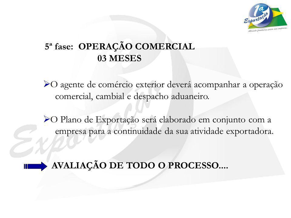 5ª fase: OPERAÇÃO COMERCIAL 03 MESES O agente de comércio exterior deverá acompanhar a operação comercial, cambial e despacho aduaneiro. O Plano de Ex