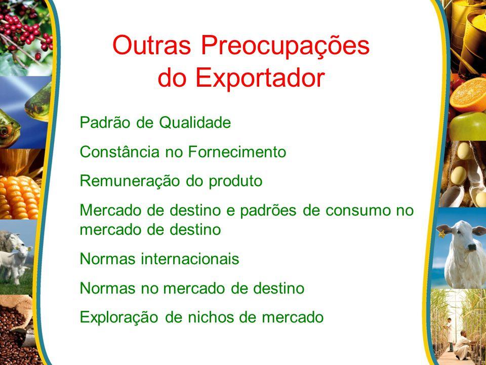 Outras Preocupações do Exportador Padrão de Qualidade Constância no Fornecimento Remuneração do produto Mercado de destino e padrões de consumo no mer
