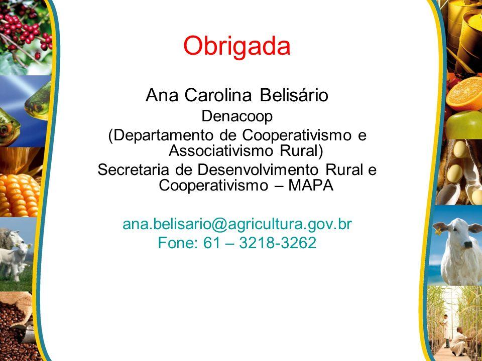 Obrigada Ana Carolina Belisário Denacoop (Departamento de Cooperativismo e Associativismo Rural) Secretaria de Desenvolvimento Rural e Cooperativismo