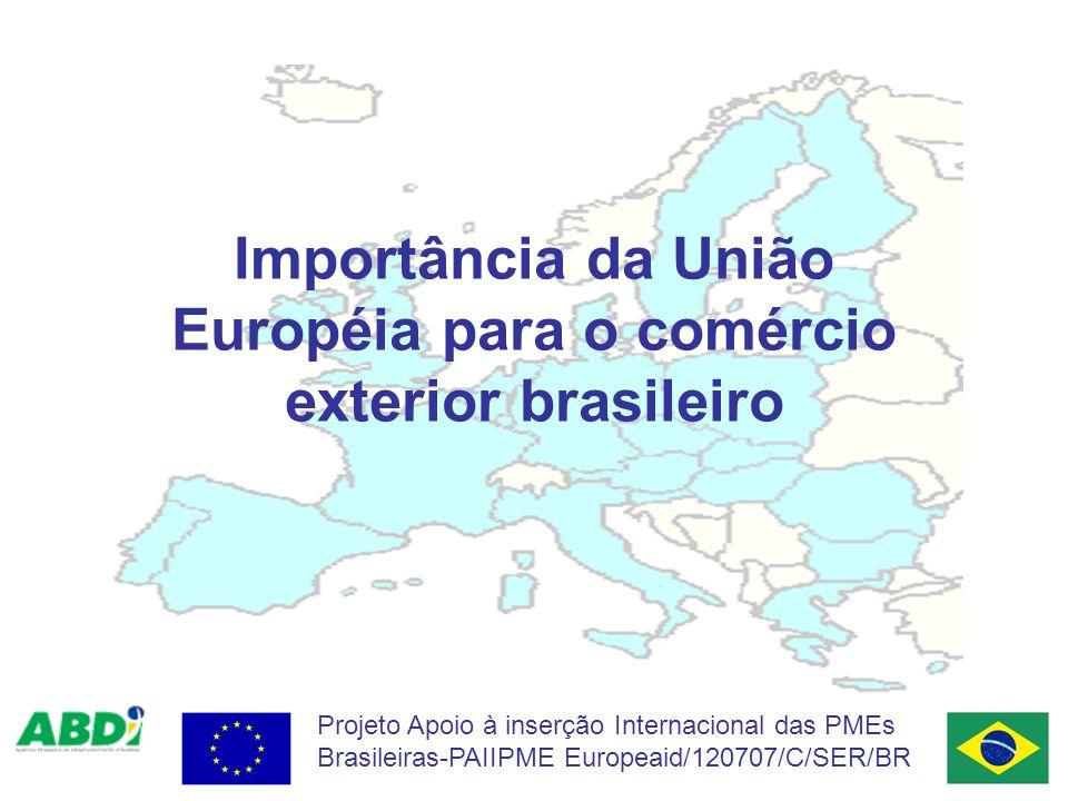 Projeto Apoio à inserção Internacional das PMEs Brasileiras-PAIIPME Europeaid/120707/C/SER/BR Importância da União Européia para o comércio exterior brasileiro