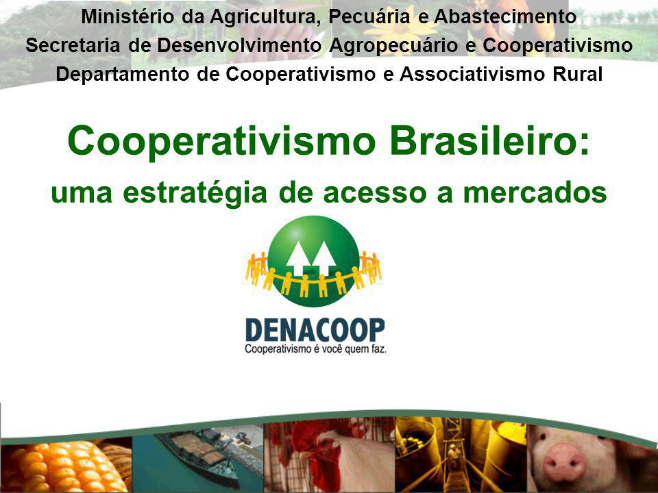 Cooperativismo Brasileiro: uma estratégia de acesso a mercados Ministério da Agricultura, Pecuária e Abastecimento Secretaria de Desenvolvimento Agrop