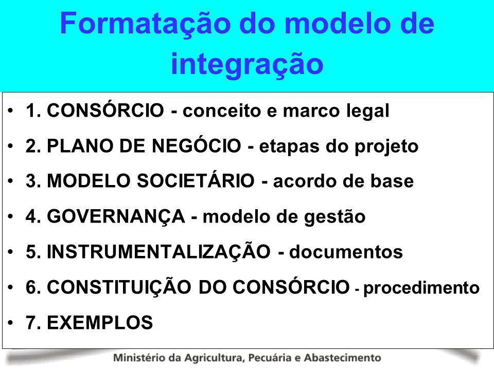 Formatação do modelo de integração 1. CONSÓRCIO - conceito e marco legal 2. PLANO DE NEGÓCIO - etapas do projeto 3. MODELO SOCIETÁRIO - acordo de base