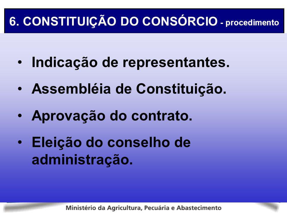 6. CONSTITUIÇÃO DO CONSÓRCIO - procedimento Indicação de representantes. Assembléia de Constituição. Aprovação do contrato. Eleição do conselho de adm