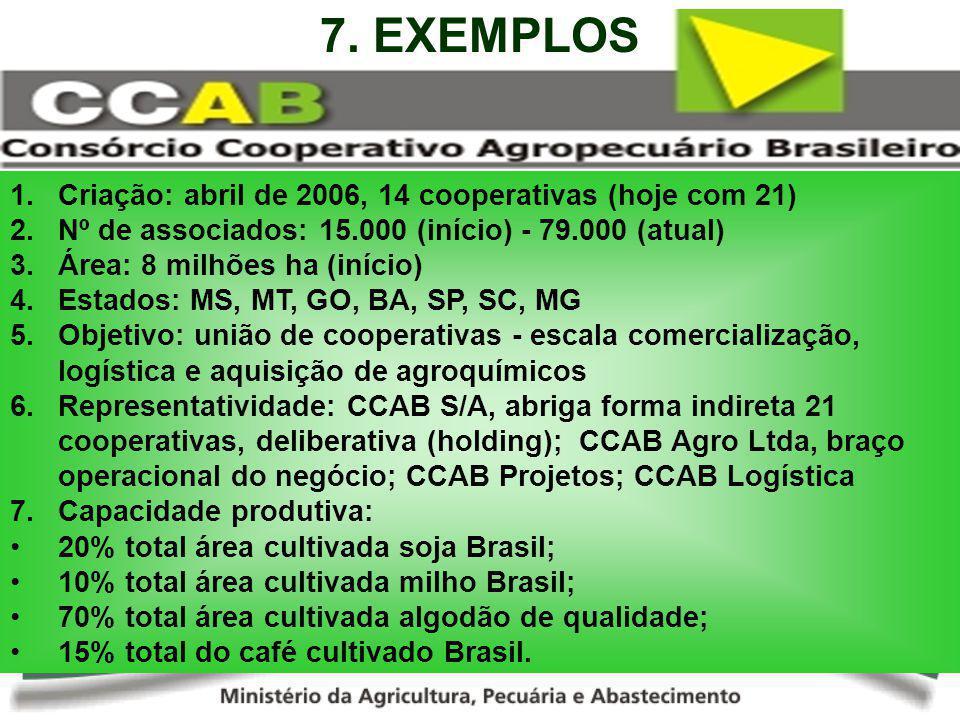 1.Criação: abril de 2006, 14 cooperativas (hoje com 21) 2.Nº de associados: 15.000 (início) - 79.000 (atual) 3.Área: 8 milhões ha (início) 4.Estados: