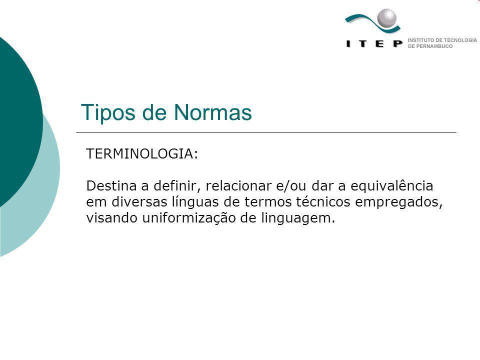 Tipos de Normas TERMINOLOGIA: Destina a definir, relacionar e/ou dar a equivalência em diversas línguas de termos técnicos empregados, visando uniform