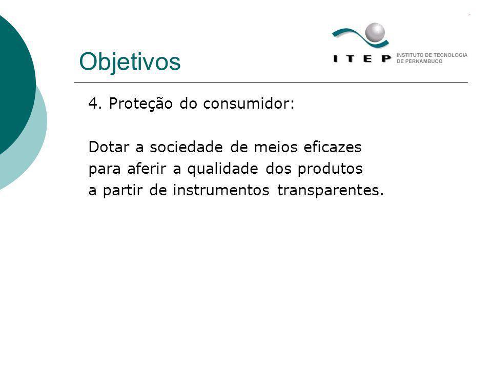 Objetivos 4. Proteção do consumidor: Dotar a sociedade de meios eficazes para aferir a qualidade dos produtos a partir de instrumentos transparentes.