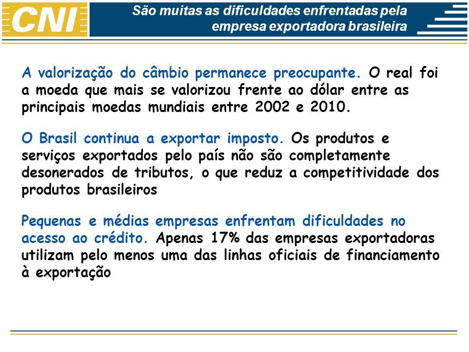 Economias Brasileira: Desempenho e Perspectivas A valorização do câmbio permanece preocupante. O real foi a moeda que mais se valorizou frente ao dóla