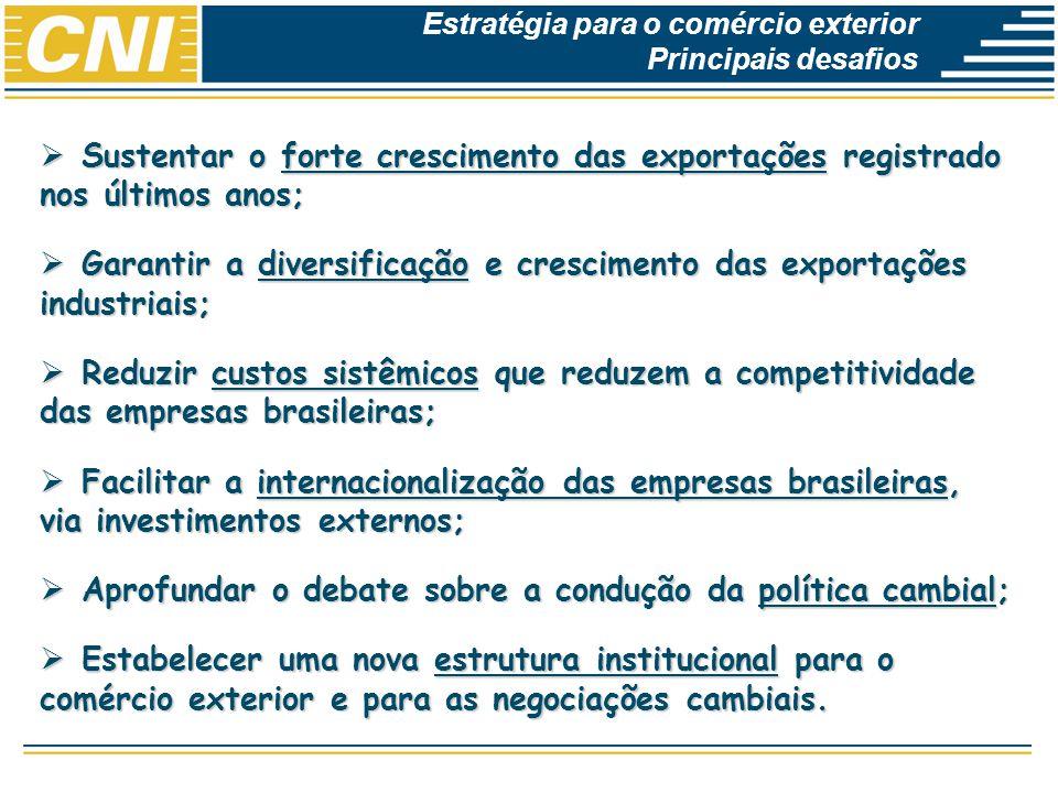 Economias Brasileira: Desempenho e Perspectivas Sustentar o forte crescimento das exportações registrado nos últimos anos; Sustentar o forte crescimen