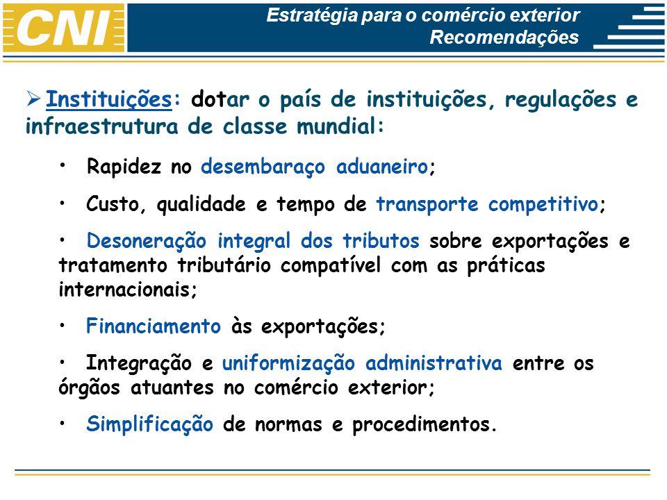 Economias Brasileira: Desempenho e Perspectivas Instituições: dotar o país de instituições, regulações e infraestrutura de classe mundial: Rapidez no