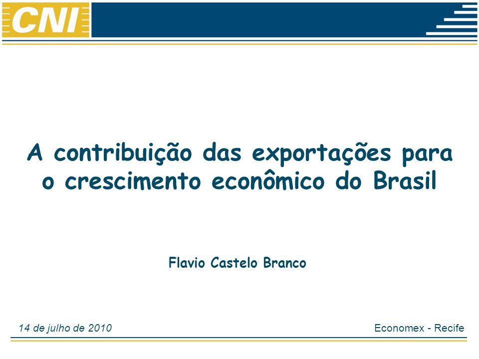 Economias Brasileira: Desempenho e Perspectivas A contribuição das exportações para o crescimento econômico do Brasil Economex - Recife14 de julho de