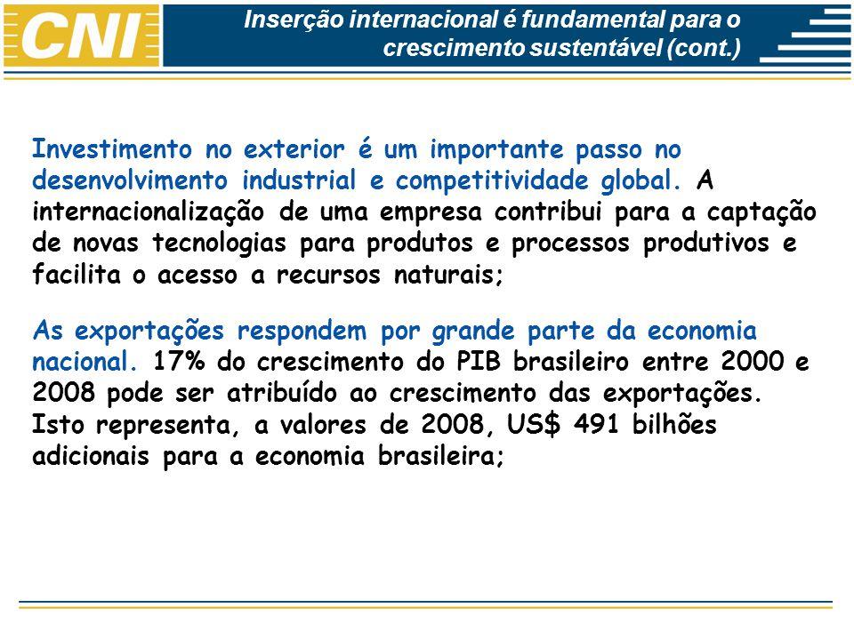Economias Brasileira: Desempenho e Perspectivas As exportações tem tido papel relevante como fator de atenuação de fases negativas dos ciclos da economia doméstica.