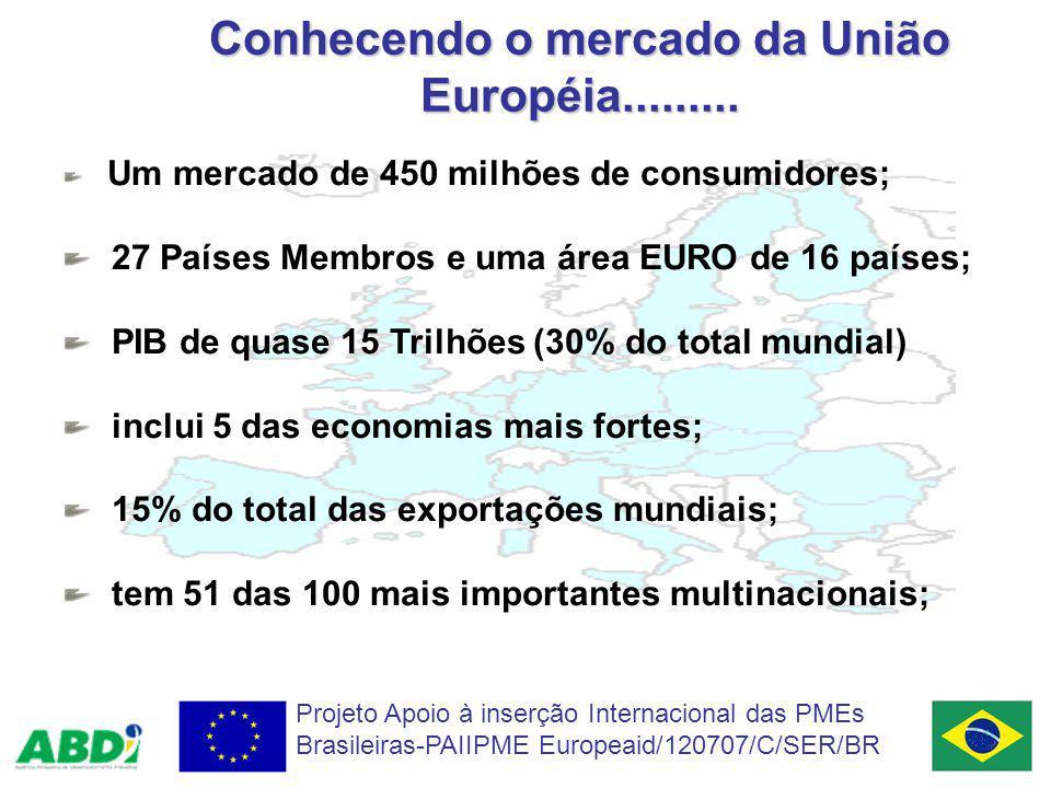 Conhecendo o mercado da União Européia......... Projeto Apoio à inserção Internacional das PMEs Brasileiras-PAIIPME Europeaid/120707/C/SER/BR Um merca