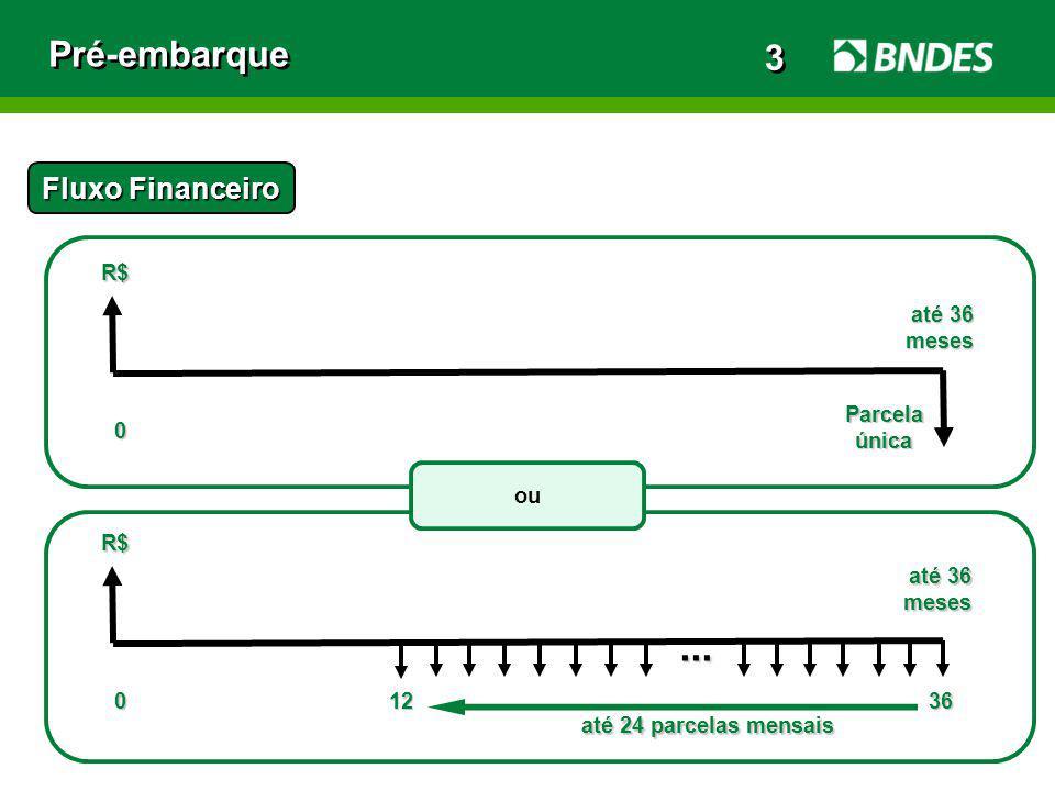 Pré-embarque Fluxo Financeiro R$ 012 até 36 até 36meses... R$ 0 Parcelaúnica meses 36 até 24 parcelas mensais até 24 parcelas mensais ou 3 3