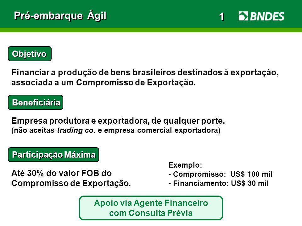 Pré-embarque Ágil Objetivo Financiar a produção de bens brasileiros destinados à exportação, associada a um Compromisso de Exportação. Beneficiária Em